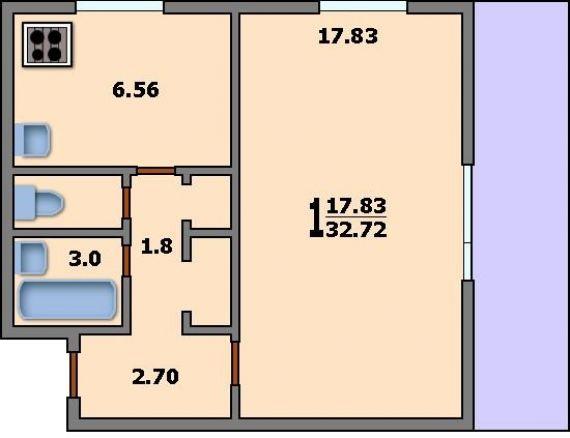 1-комнатная квартира 1605/12: планировка вариант b: 32.7/17..
