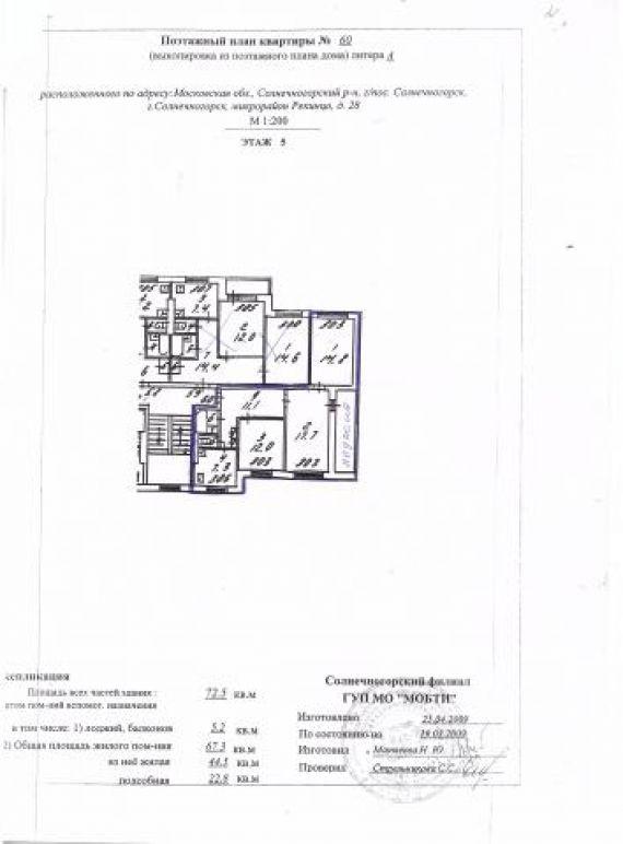 Продам трехкомнатную квартиру город солнечногорск, д. 28 - б.