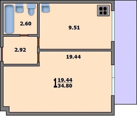 Дома серии и-209а - 3d планировка 1-комнатной квартиры вариа.
