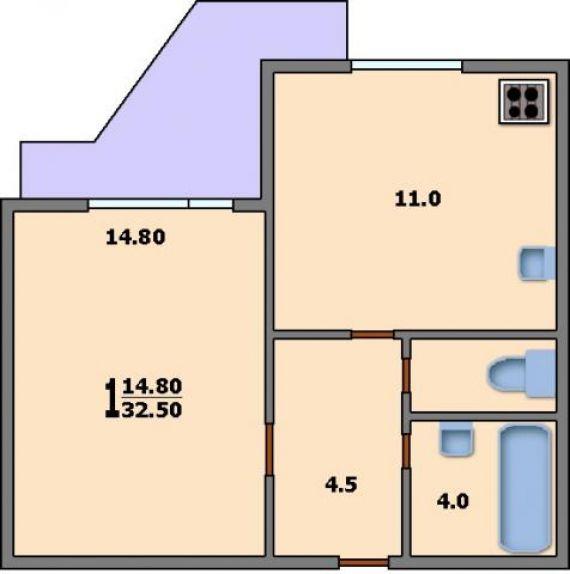 Продам 1-комнатную - дубнинская д 2. к 6, 35 кв.м. на 4 этаж.