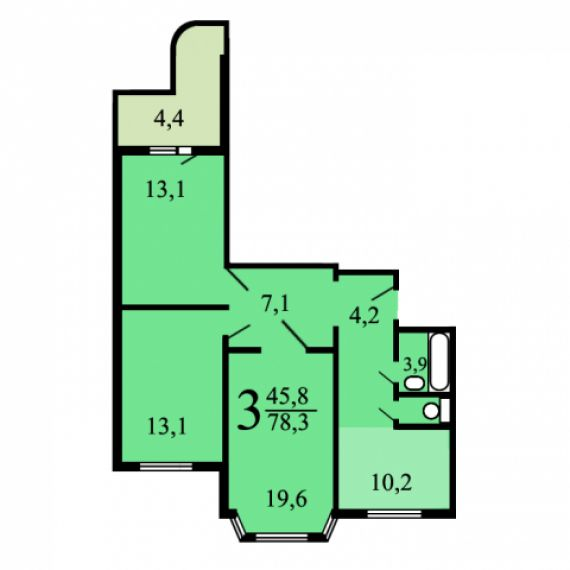 Планировки трехкомнатных квартир в домах серии п-3м.