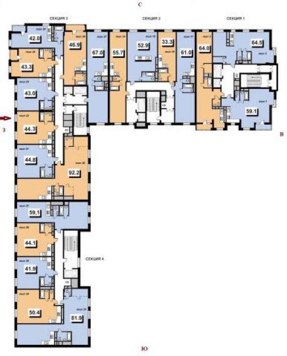 межрайонная жк калипсо-2 57 м 2-комнатная квартира директора