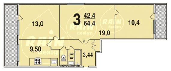 Серия дома 3 комнатаная с балконом и лоджией 75 кв.