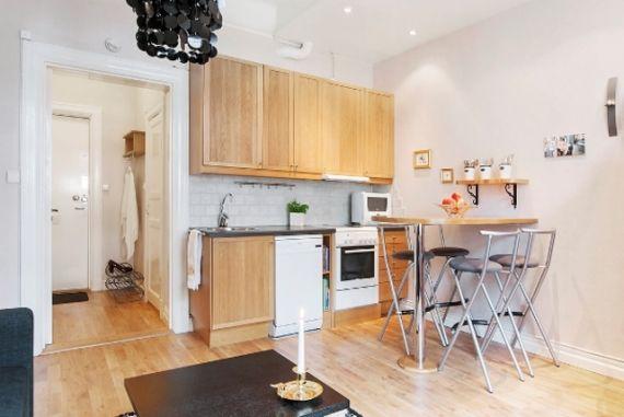 Дизайн кухни в квартире студии 30 кв.м