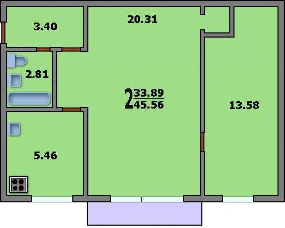 2-комнатная квартира i-515/5м: планировка вариант c: 45.6/33.