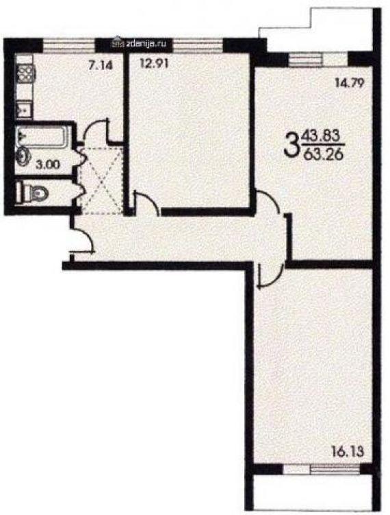 Планировка трёхкомнатной квартиры ( серия ii 57 ) - серия ii.