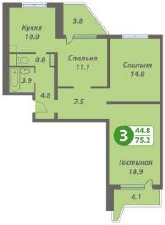 Продается 3-комнатная первичка расположение хованская ул. , .