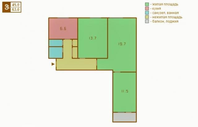 Продается 3-комнатная квартира находится дорожный 3-й пр. , .