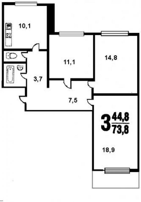 П44 планировка трехкомнатной квартиры.