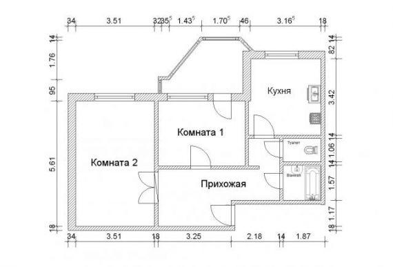 План двухкомнатной квартиры пд-4 - двухкомнатные квартиры пд.