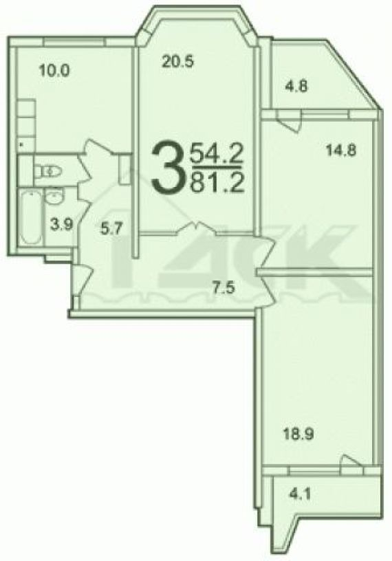 Купить квартиру ,москва 86 м2 трехкомнатная , метро: , волок.