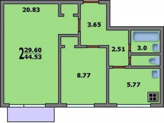 2-комнатная квартира ii-18/12: планировка вариант c: 44.5/29.