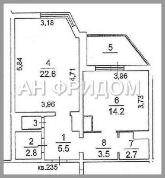 Продам 1-комнатную - радужная ул., д. 14к4, 53 кв.м. на 24 э.