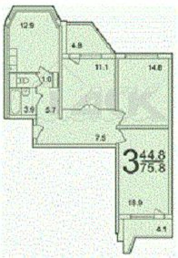 Трёхкомнатная квартира находится южная ул. , 25, метро. обща.