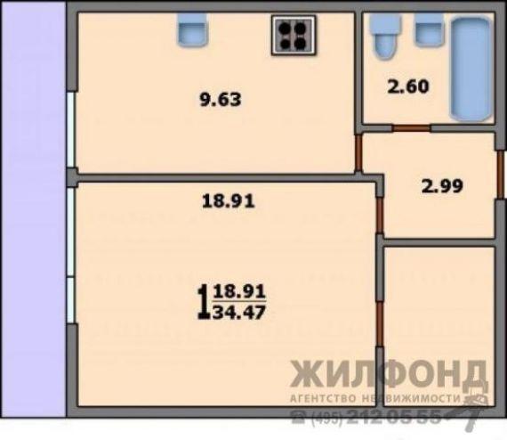 1-комнатная квартира и-522а: планировка вариант b: 34.5/18.9.